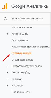 Шлях до звіту Google Analytics «Сторінки входу».