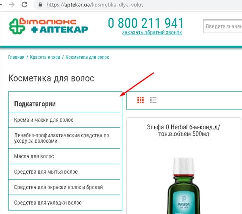 Приклад підкатегорій для онлайн аптеки