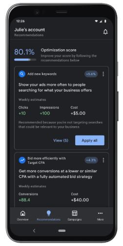 Dark mode в интерфейсе мобильного приложения Google Ads
