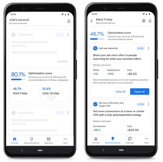 Показатель оптимизации на главном экране мобильного приложения Google Ads
