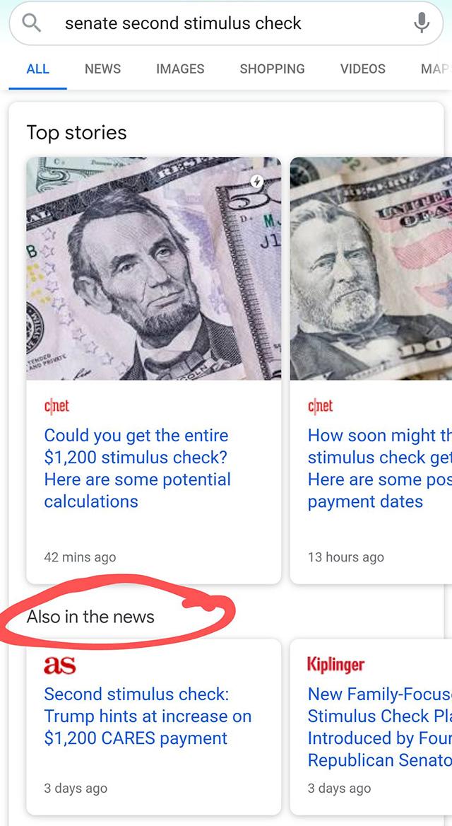 Google тестирует дополнительный блок новостей
