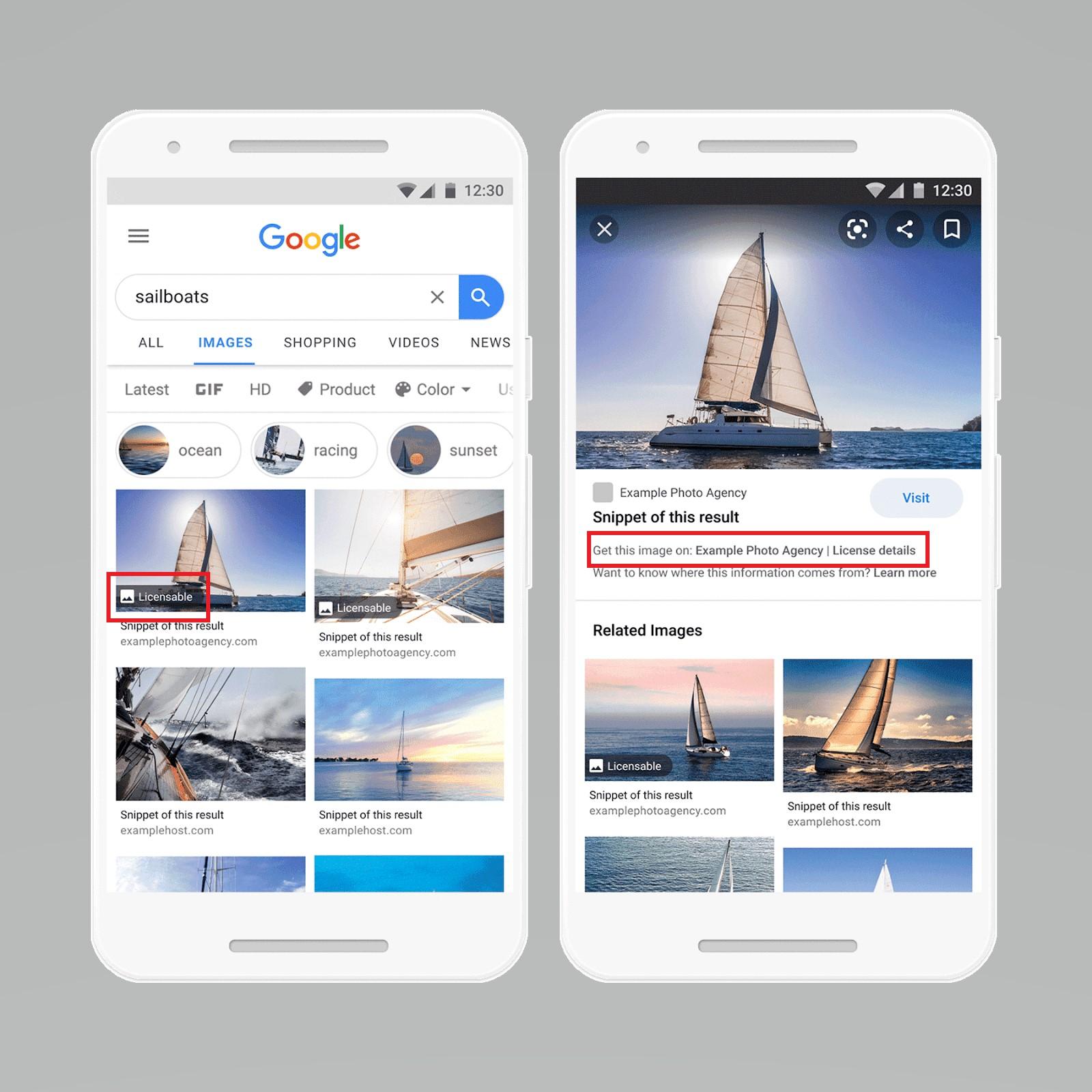 В Google картинках появилась информация о лицензировании