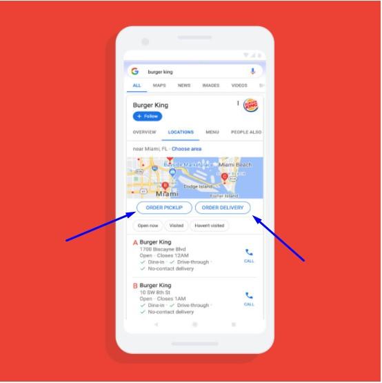 В Google Картах можно заказать еду через кнопку заказа