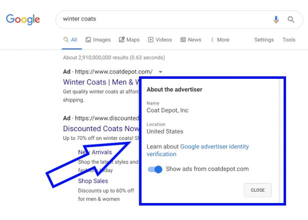 Как будет выглядеть информация о рекламодателях в Google Ads