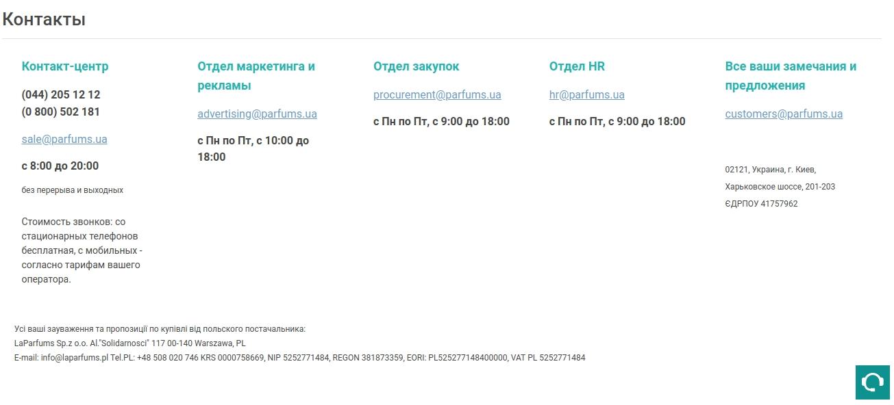 Пример оформления страницы с контактами в интернет-магазине