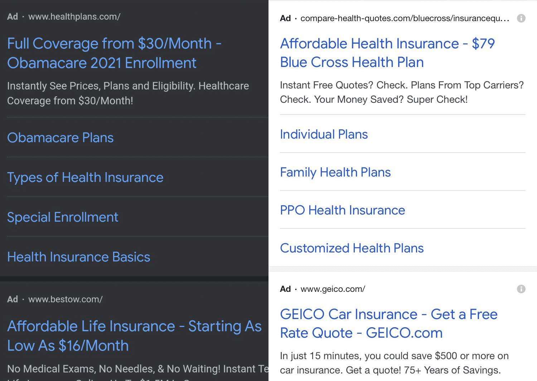 Як виглядають оголошення Google Ads в темному і світлому режимі