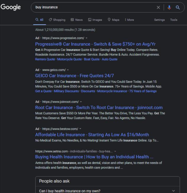 Як виглядають оголошення Google Ads в темному режимі для десктопу