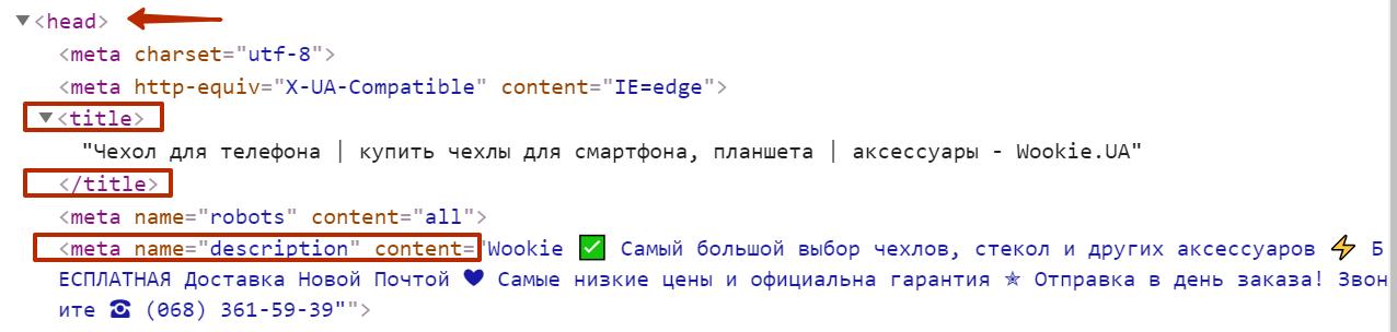 Пример расположения мета-тегов Title и Description на странице