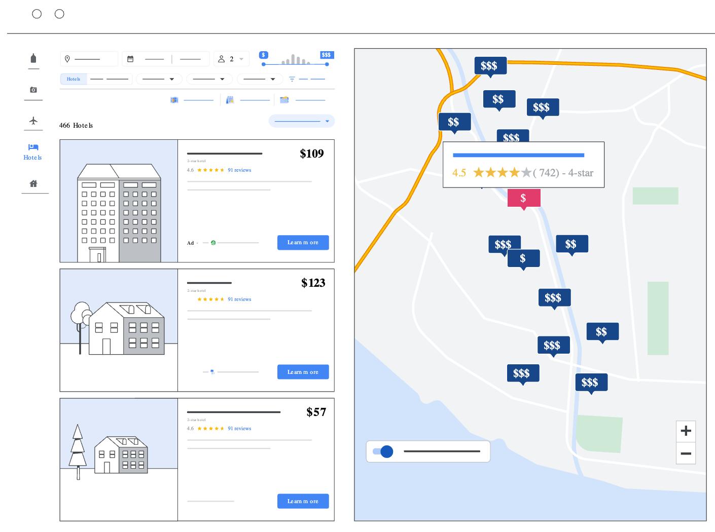 Как выглядят рекламные объявлений отелей в Google Картах