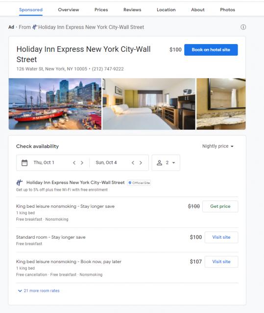 Как выглядят ссылки для бронирования отелей в Google
